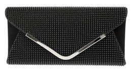 Wholesale Blue Shiny Bags - Wholesale-DC1989 Women Evening Bag Black Bead Mesh Magnetic Button Closure Long Chain Shiny Rhodium Plated V Metal Clip Inner Side Pocket