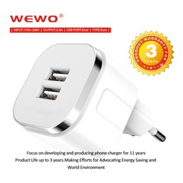 Wholesale European Plug Adapter Usb - USB Wall Chargers Dual Port 2.4A High Speed Output European USB Plug Wall Charger Power Adapter for iPhone 7 7 Plus