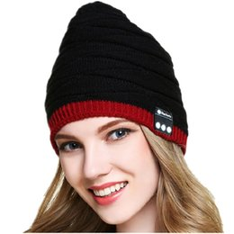 Wholesale Tattoo Street - New Bluetooth music hats Winter Fish tattoo Knit wool beanies hats Outdoor sport music caps 4 colors free shipping