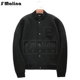 Wholesale free baseball bats - Free shipping fashion design letter B Chest flock Patch Black coat baseball jacket cotton DH016