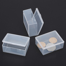 Wholesale Mini Craft Beads - 5.3*4*1.9CM Mini Hard Clear Plastic Jewelry Necklace Craft Beads Makeup Storage Box Case   Organizer   Holder   Container