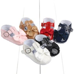 Wholesale Wholesale Shoe Soles For Babies - 2017 Summer Baby Pu Leather Sandals Cute bow Girls Shoes First Walker shoes Infant Soft Sole Toddler Bowknot Shoes for 0-12 Mos