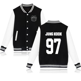 Wholesale Black Sweater Vest Men - BTS bulletproof youth group with the baseball clothing fleece sweater coat college wind should be served xxs-4xl