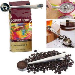 Wholesale Metal Craft Bags - Stainless Steel Spoon Ground Coffee Craft Measuring Scoop Spoon With Bag Seal Clip Multifunction Stainless Steel Coffee Spoon CCA6465 100pcs
