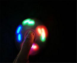 Wholesale Dora Toys Plastic - NEWEST triangle LED HandSpinner plastic LED Fidget Spinner Finger Fingertip Gyro Tri-Spinner Handspinner Fidget Toys EDC Decompression dora