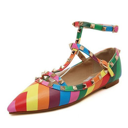 Wholesale Blue Rainbow Sandals - New 2017 Women's shoes Buckle Sandals Metal Rivet Studded Flats ankle straps pointed toes women flat shoes rock rainbow shoes