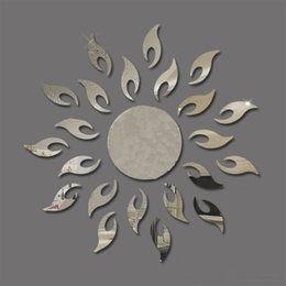 Wholesale Mirror Adhesives - Creative Sun Sunshine Fire Sunflower Wall Sticker 3D Mirror Effect Art Mural DIY Removable Decal Stickers Muraux Home Decor B