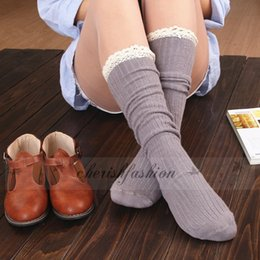 Wholesale Wholesale Lace Trim Boot Sock - Winter Long Women Warm Lace Leg Warmer Boot Socks Crochet Trim Cotton Knit Footed Leg Knee High Stocking L359-M-B