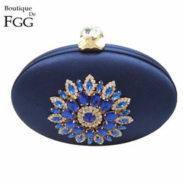 Wholesale Evening Clutch Bags Navy - Wholesale-Women's Fashion Crystal Metal Flower Appliques Navy Blue Evening Clutch Bag Wedding Party Cocktail Prom Handbag Clutches Purse