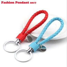 Wholesale Knitting Leather Cord - 2017 Hot PU Leather Key Chain Woven Keychain PU Leather Cord Leather Knitted Bag Charm Keychains Car Key Ring dhl shipping