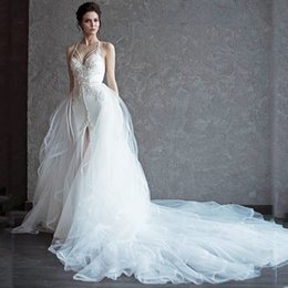 Wholesale Cross Front Sweetheart Wedding Dress - 2017 Mermaid Wedding Dresses with Detachable skirt Spaghetti Straps Sexy Backless Bride Gowns