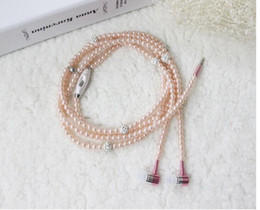 Wholesale Necklace Earphone For Mp3 - Phone Mp3 Headphone In Ear Diamond Pearl beads couple necklace Earphones With Mic Fashional gift Girls earbuds headset