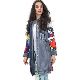 Wholesale Spring Trench Coats For Women - [TWOTWINSLTYLE] Spring Graffiti Print Spliced Ripped Pockets Long Sleeve Denim Trench Coat For Women New Clothing Streetwear