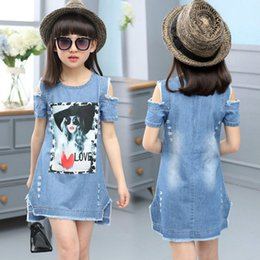Wholesale Denim Shirts For Girls - Children Dresses For Girls Denim Dress Summer Strapless Dress Pattern Girls Clothing Short Sleeve Child Clothes Denim T-Shirts