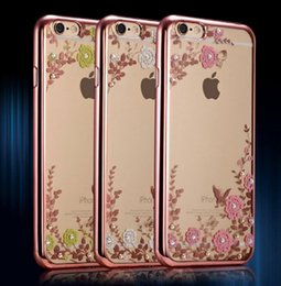 Wholesale Secret Case Iphone - Bling Crystal diamond Secret flower Garden Electroplating TPU Ultra-Thin lady Ladies girl case cover for iPhone 7 6 6S Plus 7Plus 5 5S
