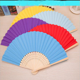 Wholesale Style Mini Rooms - 7 INCH Japanese Cartoon Art Mini Fan summer Students Daily Type Folding Fan Bamboo Paper 6 Color