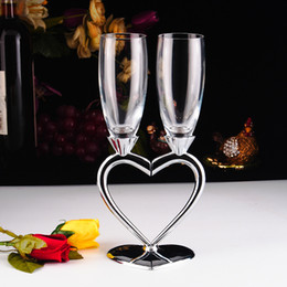 Wholesale Heart Champagne Flutes - estive Party Event Party Supplies(To be deleted) Free Shipping Heart Design Silver Plated Toasting Flutes Champagne Glasses Wedding Dec...