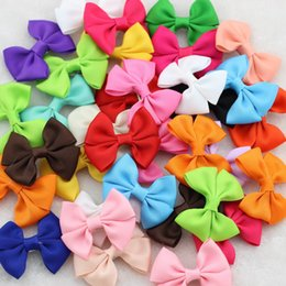"""Wholesale Hair Clips Little Girl Ribbon - Wholesale- 40Pcs lot 2.5""""Ribbon bows with hairclips Baby Girls Little Hair clip Soild Bows Children Accessories For Hair Cute Kids Hairpins"""