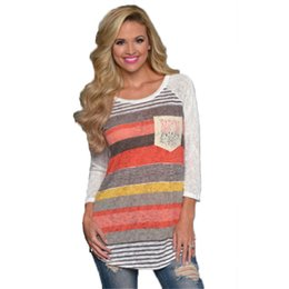 Wholesale Wholesale Linen Clothing Women - Wholesale- Fashion Women's Casual Loose Long Sleeve Striped T Shirts Tops Hot Clothes PL1