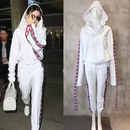Wholesale Wide Cotton Pants - Europe High Quality Fashion Collaboration Kendall Jenner Fan Made Long Sleeve Oversized Jersey Hooded Top Sweatshirts Hoodie Pants Tracksuit
