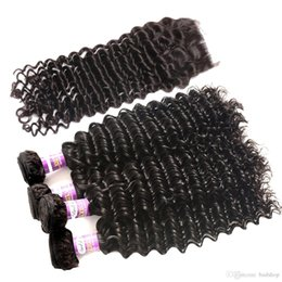 Wholesale Deep Curl Peruvian Hair - Badshop 8A Peruvian Curly Wavy with Closure Peruvian Deep Curl Virgin Hair with Closure Peruvian Deep Wave with Closure 4 Bundles