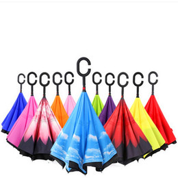 Wholesale foldable umbrellas - C Shape Handle Inverted Umbrella Inside Out Self Stand Windproof Umbrellas Reverse Double Layer Foldable Bumbershoot New Arrival 29 3bx CB
