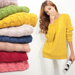Wholesale Thick Knitwear Women - Wholesale-New Women Sweater Autumn Winter Pullover Jumper Warm Tricot Thick Twist O-Neck Long Sleeve Hollow out Knitwear Tops 1YF9601