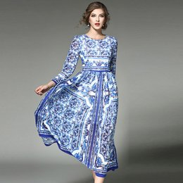 Wholesale long sleeve maxi dresses china - Luxury Silk High Quality Designer China Print Runway Maxi Dress Spring Women Long sleeve Vintage Ethnic Blue and White Printed Long Dress