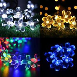 Wholesale Led Light Cherry Blossom - Cherry Blossom Outdoor Solar String Lights 50 LED Solar Powered Sakura String Night Lights Garden Home Party Decor OOA3153