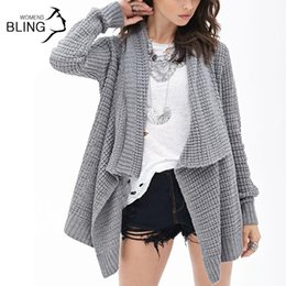 Wholesale Women Overcoat Price - Best Price Spring and Autumn 2016 Women's Fashion Knitted Irregular Hollow Long Sleeve Loose Casual Sweaters Cardigan Overcoat