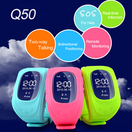 Reloj de la venda del patio online-Q50 Kids Rastreador GPS Niños Smart Watch Teléfono SIM Cuatribanda GSM Safe SOS Llame Smartwatch para Android IOS