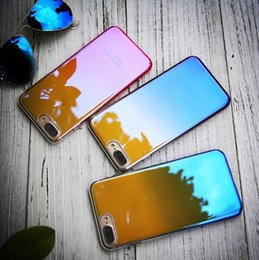 Wholesale Mirror Light Covers - Gradient Blue-ray Mirror Case For iPhone X 8 plus Transparent Light Case Cover For iPhone 6 6s 7 Plus