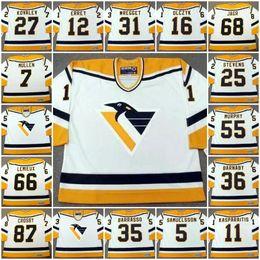 Wholesale Lemieux Ccm Jersey - Pittsburgh Penguins #11 KASPARAITIS #87 Crosby #66 Lemieux #12 ERREY #36 Barnaby #31 WREGGET 1998 CCM Vintage Throwback Away Hockey Jerseys