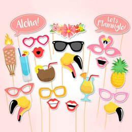 Wholesale Beach Events - 21 PCS Flamingo Tropical Summer Hen Photo Booth Props Stick Birthday Beach Party Decor Paper Crafts Events Party Supplies