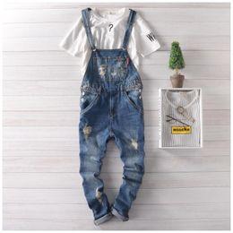 Wholesale Suspender Jeans Overalls - Wholesale-2016 Mens Suspender Pants Plus Size Bib Overalls Jeans For Men Fashion Slim Fit Denim Overalls Men Blue Salopette Homme