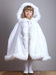 Wholesale White Cape Fur Trim - White Cute Winter Wedding Coat Princess Flower Grils Bridal Cape Ivory Satin with Fur Trim Wedding Cloak Vintage Christmas Accessories 2017