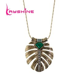 Wholesale Costume Jewelry Green Pendants - New Costume Jewelry Necklace Long Bronze Chain Green Stone Feather Shape Pendant Necklace For Women Collier Femme