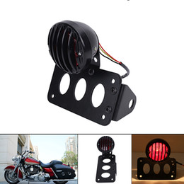 Wholesale Chopper Brake Tail Light - Motorcycle Side Mount Tail Brake Running Light + License Plate Holder For Harley Sportster Chopper Bobber Custom Fatboy #MB174