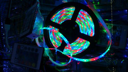 Wholesale glue led strip - Wholesale- LED light 2835=3528 RGB Red Green Blue DC12V 5M 60led=1 meters 5 meters=1roll Flexible Glue waterproof IP65 led 2835 strip RGB