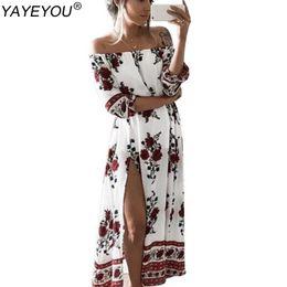 Wholesale Floral Tube Dress - Wholesale- YAYEYOU New Summer Women's Vintage Dress Floral Print Off Shoulder Split Tube Long Party Maxi Dress Beach Dresses