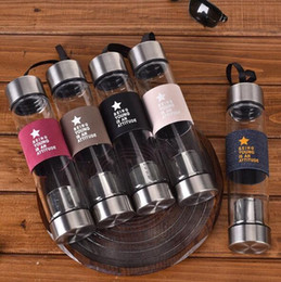 Wholesale Tea Infuser Cup Wholesale - Direct Drinking Drinkware Water Bottle Borosilicate Glass Thermal Bottle with Tea Infuser Single Layer Glass Gift Cup TOP1800