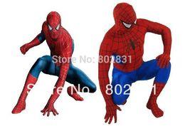 Wholesale Spiderman Zentai Blue Black - Fantastic!!! Red and Navy Blue Lycra Spandex Spiderman Hero Zentai Costume S-XXL