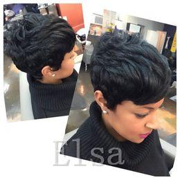flequillo afroamericano de cabello humano Rebajas Pelucas de cabello humano frente del cordón Peluca glueless corto corte Pixie barato con flequillo para los afroamericanos Mejores pelucas de cabello brasileño