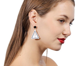Wholesale Chandelier Logo - 2017 Fashion ladies creative triangle earrings simple Unique hollow logo Big Wedding Dangle Earrings For Women Statement Jewelry Gifts new