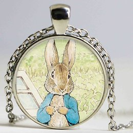 Wholesale Peters Rabbit - Bunny Necklace Peter Rabbit Jewelry Glass Dome Pendant Necklace