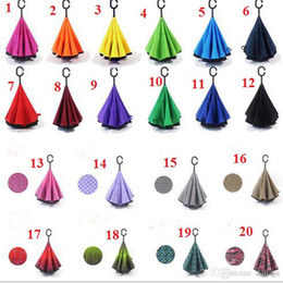 Wholesale Free Style Reverse - WInverted Umbrella Double Layer Reverse Rainy Sunny Umbrella 20 Styles with C J Handle Self Standing Inside Out Special Design Free Shipping
