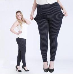 Wholesale Plus Size Vertical - Wholesale- 2016 Big Size Fat Female Women Vertical Stripe Faux Jeans Legging Plus Size 5XL Legging for 100kg Women Thin Type Stretchy Pants