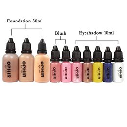 Wholesale Airbrush Pink - eyeshadow 100 OPHIR 10 Bottles Airbrush Makeup Inks Set with 3 Colors Air Foundation 2x Air Blush 5x Air Eyeshadow for Face