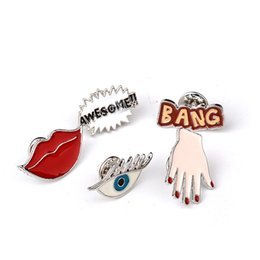 Wholesale Wedding Bangs - Wholesale- 5in1 Brooch BANG AWESOME!! Sexy Red Lip Hand Eye Cute Enamel Pin Set Brooch Set Lapel Pin Set For Jeans Accessories gifts