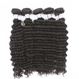 Wholesale Hair Weave Style Natural Wave - Uglam Brazilian human hair weaves Deep Wave 5pcs lot Brazilian virgin hair Free Shipping Top Selling Sexy Style